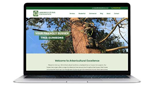 Arboricultural Excellence New Website contained within laptop