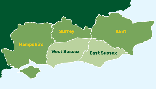 Green map showing areas covered for work